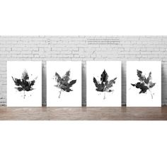 Maple Leaf Illustration Black and White Drawing, Maple Leaves set 4 Ink Painting, Grey Living Room Decoration Poster, Abstract Art Print by ColorWatercolor on Etsy https://www.etsy.com/uk/listing/480669874/maple-leaf-illustration-black-and-white