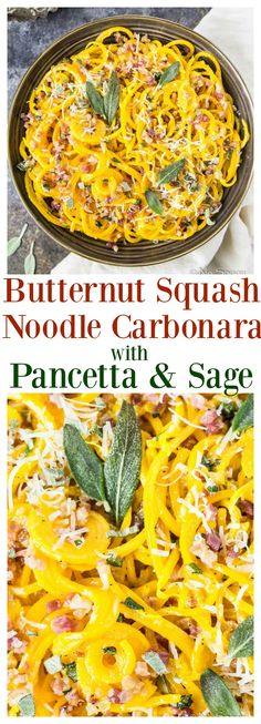 Butternut Squash Noodles coated in a rich, creamy, cheesy Carbonara sauce and tossed with Pancetta & Sage! And so quick & simple! Butternut Squash Spirals Recipe, Spiralized Butternut Squash, Butternut Squash Noodle, Squash Noodles, Vegetable Noodles, Recipes With Butternut Squash, Acorn Squash, Healthy Noodle Recipes, Zoodle Recipes