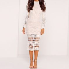 - Missguided High Neck Structured Lace Midi Dress White, $102