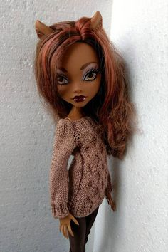 Monster High doll clothes. Hand-knitted brown chocolate