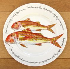 Red Mullet Large Dinner Plate - Made by Jersey Pottery paintings by Richard Bramble