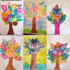 Sulu boya ile yaprak baskı çalışması 4. Sınıf