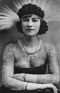 Circus Side Show by Annex Artoria Gibbons Lady Tattoo Canvas Art Print #Circus