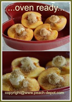 Baked Peaches Recipe-easy, fast and delish!  2 Peaches halved Butter, brown sugar & 375degrees, 25 mins