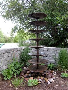 farming till repurposed as fountain