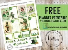 Patrick's Planner Stickers from Victoria Thatcher Free Planner, Planner Pages, Happy Planner, Passion Planner, Planner Layout, Planner Ideas, Victoria Thatcher, Planer Organisation, Printable Planner Stickers