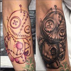 Just finished this wee guy...was the best fun!!  #art #artist #artnerd #instaart #tattoo #tattooart #tattooartist #tattooer #tattooist #voodoo #voodoodoll #doll #blackandgreytattoo #blackandwhite #buttons #pins #nails #cheyennehawkpen #cheyenneprofessionaltattooequipment