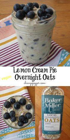 Lemon Cream Pie Overnight Oats - a healthy, vegan breakfast treat! | chicagojogger.com
