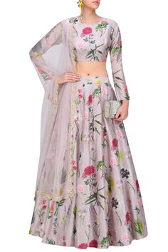 Payal Singhal presents Lilac bageecha print lehenga set available only at Pernia's Pop Up Shop. Indian Attire, Indian Wear, Indian Dresses, Indian Outfits, Indian Clothes, Floral Lehenga, Lehenga Choli, Anarkali, Lehnga Dress