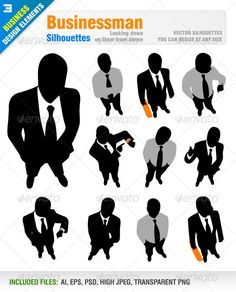 Businessman #GraphicRiver Vector set of 11 businessman silhouettes. Looking down on them from above. Ai, eps, psd, high jpeg and transparent png files included in the zip file. Each silhouette included in different layer for ai, eps and psd documents. You can see other businessman silhouettes from my portfolio.. Please, dont forget to rate my vectors! Thank you BUSINESS Created: 12September13 GraphicsFilesIncluded: PhotoshopPSD #TransparentPNG #JPGImage #VectorEPS #AIIllustrator Layered: Yes…