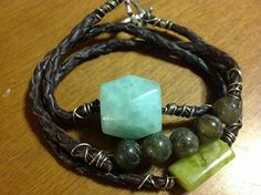 Jade ..labradorite ...brown leather bola cord
