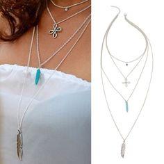 "Multilayer Long Pendant Necklace Multilayer Long Pendant Necklace. Length 30"" Jewelry Necklaces"