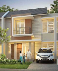 cassa citragran cibubur House Front Design, Small House Design, Dream Home Design, Design Exterior, Facade Design, Architecture Design, Modern Tropical House, Architectural House Plans, Townhouse Designs