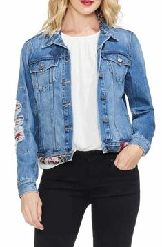 b17101ecfbe Save the Vince Camuto Tapestry Patchwork Denim Jacket Latest Clothing  Trends