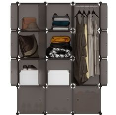 LANGRIA 16 Cube Organiser Stackable Plastic Cube Storage Shelves Design Multifunctional Modular Wardrobe Cabinet with Hanging Rod for Clothes Shoes Toys Bedroom Living Room (Transparent Brown): Amazon.co.uk: Kitchen & Home