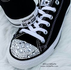 Brand new Customized Converse adorned with hand-set Swarovski Crystals in different shapes and sizes. So pretty! - Comes in original Converse box F. Converse All Star, Cool Converse, Glitter Converse, Glitter Shoes, Converse Sneakers, Vans, Glitter Gel, Bling Shoes, Prom Shoes