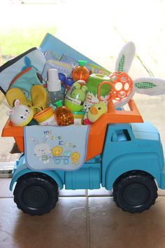 Heres a pinterest inspired baby shower gift i made for one of my my sons first dump truck easter basket negle