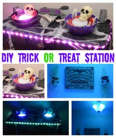Check out how to make this awesome DIY Trick or Treat Station just in time for Halloween complete with lights and music for a creepy spooky effect for all your trick or treaters! #ad #HueHalloween #PhilipsHue