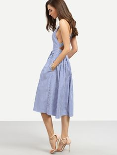 Shop Blue Striped Sleeveless Criss Cross Back Dress online. SheIn offers Blue Striped Sleeveless Criss Cross Back Dress & more to fit your fashionable needs.