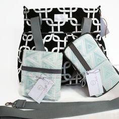 Diaper Bag Gift Set - Black Gotcha Diaper Bag - Travel Pad - Wipes Case - Messenger Strap
