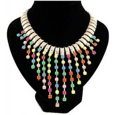 Europe and The United States Exaggerated Gems Tassel Temperament Short Necklace