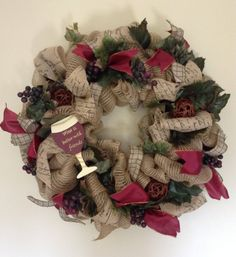 Tuscan Wreath, Grapes/Wine lovers wreath, Vineyard wreath, Wine Wreath, Wine is Better with Friends, by WreathsandSuchbyAnnA on Etsy