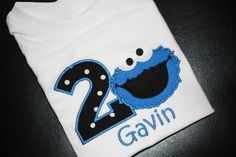 Black Cookie Monster Birthday Party Shirt Boys Clothing Personalized with Name Embroidered Birthday Shirt Seasame Street Theme. $22.99, via Etsy.