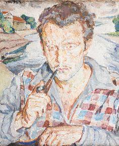 MELA MUTER (MARIA MELANIA MUTERMILCH 1876 - 1967) PORTRET MŁODEGO MĘŻCZYZNY, 1922 olej, płyta; / 55x45,5 cm
