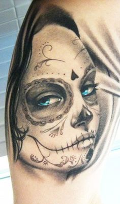 Pretty grey ink day of the dead girl with blue eyes tattoo on shoulder
