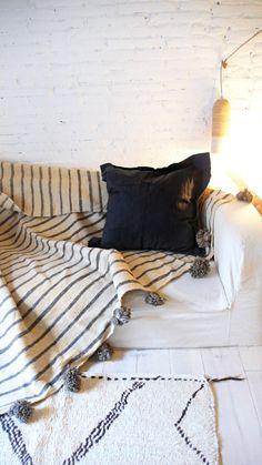 Image of Moroccan POM POM Wool Blanket -  Gray Stripes