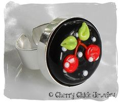 Cherry Lampwork Ring~black base now available