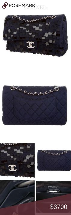 NIB CHANEL CLASSIC NAVY SEQUINED DOUBLE FLAP BAG Gorgeous! Hardware  Silver-tone.  Color  MARINE BLUE. Exclusive exterior satin   leather interior fabric w ... b9bde8f5aaaa9