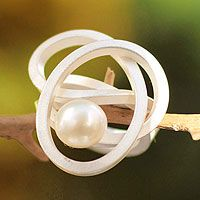 cultured pearl cocktail ring / white amazon knot. novica. the only way i'd wear pearls.