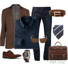 A fashion look from May 2014 featuring men's casual shirts, mens brown jacket and mens blue jeans. Browse and shop related looks. Mode Outfits, Casual Outfits, Men Casual, Fashion Outfits, Business Casual Shoes For Men, Casual Shirts, Casual Attire, Party Outfits, Mode Masculine