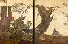 Birds in Plum. 狩野 山楽 Kano Sanraku/Sansetsu. Edo period(17th century). Fusuma. Tenkyuin Temple, a subtemple of Myoshinji Temple.