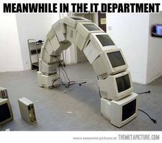 When IT guys get bored…hahaa... I want to do this! Now,where can I get a bunch of old monitors?