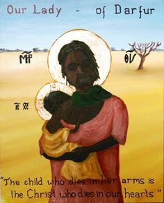 Sudan. This icon of 'Our Lady of Darfur' was written by Luiz Coelho