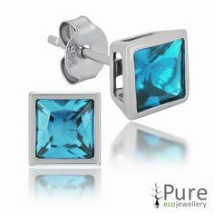 Aqua CZ Square Bezel Stud Earrings in Sterling Silver - 6mm for sale at Walmart Canada. Buy Jewellery & Watches online for less at Walmart.ca