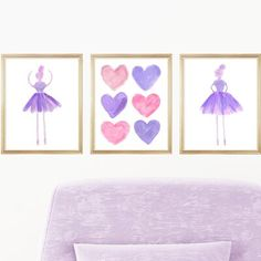 Outside In Art Studio A girly set of prima ballerinas with a center heart collage perfect for an aspiring dancer. A set of 3 unframed paper prints recreated from original watercolor paintings. Size: H x W x D, Color: Purple and Pink Girls Bedroom Purple, Pink Room, Teal Canvas Art, Little Girl Ballet, Princess Canvas, Heart Collage, Animal Wall Decals, Print Paper, Little Girl Rooms