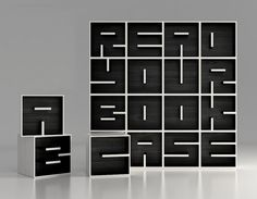 Holy awesome bookcase batman! Designers Eva Alessandrini and Roberto Saporiti of the Italian furniture design firm Saporiti have created this beautiful bookcase system that allows you to spell custom words and phrases using modular bookcase letters.