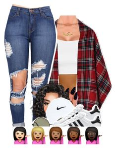 """."" by x-gladys-x ❤ liked on Polyvore featuring Topshop, Rosa de la Cruz, NIKE, Forever 21 and adidas dope outfit"