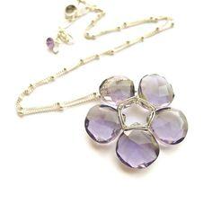 Amethyst Flower Necklace  Puple Petals Pendant by CamileeDesigns,