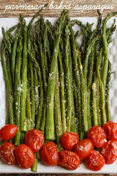 Parmesan Baked Asparagus - the easiest and yummiest way to eat the veggie! Recipe on { lilluna.com }