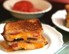 Grilled 3 Cheese and Tomato Sandwich is perfect for your next soup and sandwiches easy dinner night at home. #allshecooks