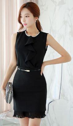 StyleOnme_Pleated Chiffon Hem Pencil Skirt #black skirt #lace #ruffle #office #look #elegant #chic #koreanfashion #kstyle #modern #feminine