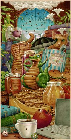 Randal Spangler Everything Tastes Better with Chocolate Chips On It Magical Creatures, Fantasy Creatures, Dragon Cat, Creation Photo, Randal, Cute Dragons, Fantasy Dragon, Fantasy Kunst, Fantasy Artwork