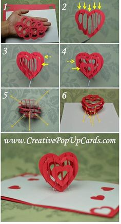 Valentine's Day Pop UP Card: Heart Tutorial – Creative Pop Up Cards – Origami Heart Pop Up Card, Heart Cards, Valentine Day Crafts, Valentines, Diy Cards, Handmade Cards, Diy Popup Cards, Popup Cards Tutorial, Kirigami Tutorial