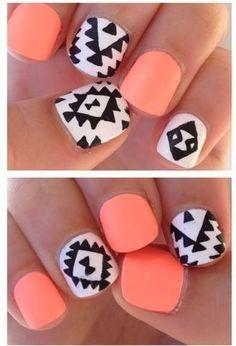 coral, black, and white tribal print nail design