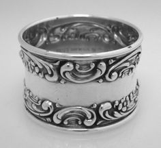 American Sterling Silver Rose Scroll Napkin Ring by Gorham 1940