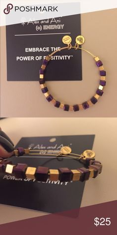 Alex and Ani retired retro glam beaded bracelet Alex and Ani retired beaded bracelet from the retro glam collection. The beads are purple and gold. Price negotiable just make me and offer :) Alex & Ani Jewelry Bracelets